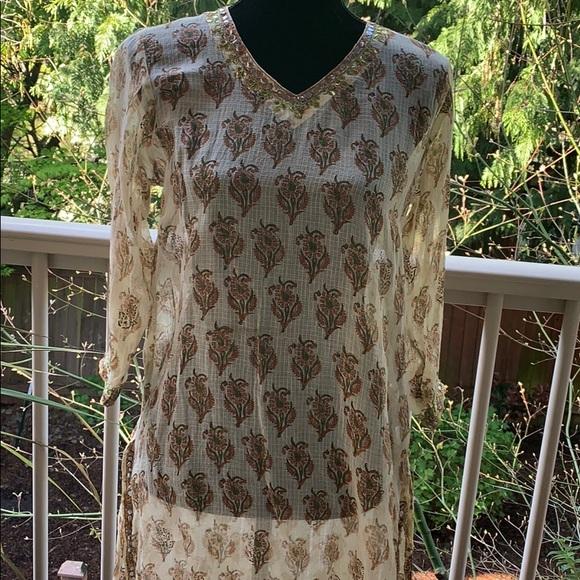 de9b3a6b61f Dresses | Boho Paisley Indian Print Tunic Dress Sequins | Poshmark